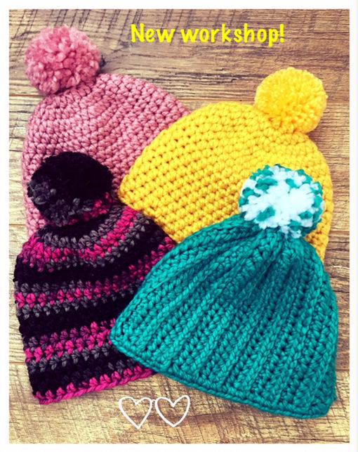 simple crochet beanie / bobble hat