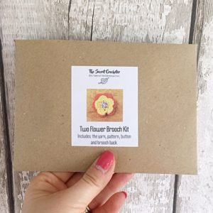 Mini Crochet Kit for a Two Flower Brooch