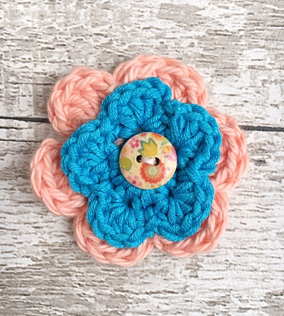Mini Crochet Kit for a Two Flower Brooch